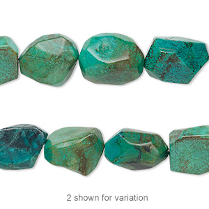 bead, turquoise (dyed / stabilized), blue, large to extra-large faceted nugget, mohs hardness 5 to 6. sold per 15-inch strand.