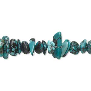 bead, turquoise (dyed / stabilized), blue, medium chip, mohs hardness 5 to 6. sold per 15-inch strand.