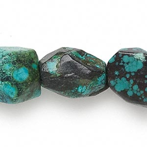 bead, turquoise (dyed / stabilized), blue, medium to large faceted nugget, mohs hardness 5 to 6. sold per 15-inch strand.