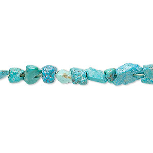 bead, turquoise (dyed / stabilized), blue, mini to small nugget, mohs hardness 5 to 6. sold per 15-inch strand.