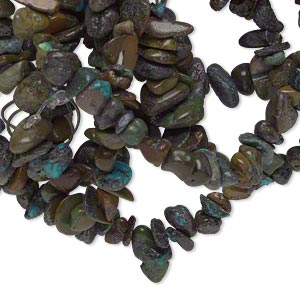 bead, turquoise (dyed / stabilized), blue, small chip, mohs hardness 5 to 6. sold per 34-inch strand.