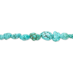 bead, turquoise (dyed / stabilized), blue, small pebble, mohs hardness 5 to 6. sold per 15-inch strand.