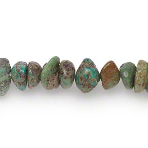 bead, turquoise (dyed / stabilized), brown and green, large chip, mohs hardness 5 to 6. sold per 16-inch strand.