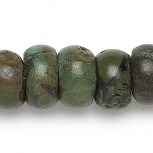 bead, turquoise (dyed / stabilized), green, 16x4mm-19x12mm rondelle, d- grade, mohs hardness 5 to 6. sold per 15-inch strand.