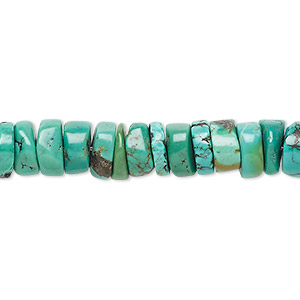 bead, turquoise (dyed / stabilized), green, 7x2mm-8x4mm heishi, b- grade, mohs hardness 5 to 6. sold per 16-inch strand.