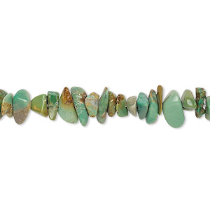bead, turquoise (dyed / stabilized), green-brown, small chip, mohs hardness 5 to 6. sold per 15-inch strand.