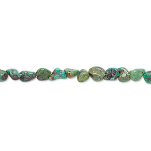 bead, turquoise (dyed / stabilized), green-brown, small to medium pebble, mohs hardness 5 to 6. sold per 15-inch strand.