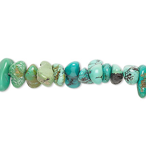 bead, turquoise (dyed / stabilized), green, large chip, mohs hardness 5 to 6. sold per 16-inch strand.