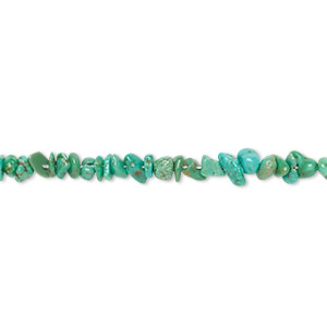 bead, turquoise (dyed / stabilized), green, mini chip, mohs hardness 5 to 6. sold per 15-inch strand.