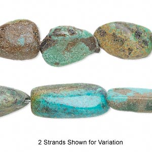 bead, turquoise (dyed / stabilized), green, small to large nugget, mohs hardness 5 to 6. sold per 15-inch strand.
