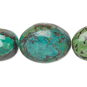 bead, turquoise (dyed / stabilized), light blue-green, large flat nugget, mohs hardness 5 to 6. sold per 8-inch strand.