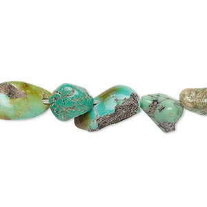 bead, turquoise (dyed / stabilized), light green-brown, mini to medium hand-cut nugget, mohs hardness 5 to 6. sold per 15-inch strand.