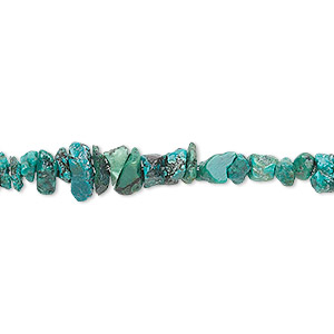 bead, turquoise (dyed / stabilized), medium chip, mohs hardness 5 to 6. sold per 36-inch strand.