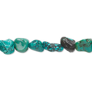 bead, turquoise (dyed / stabilized), mini to small nugget, mohs hardness 5 to 6. sold per 16-inch strand.