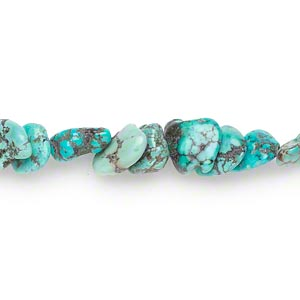 bead, turquoise (dyed / stabilized), small to medium pebble and medium chip, mohs hardness 5 to 6. sold per 15-inch strand.