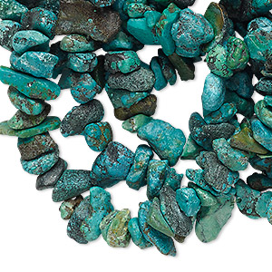 bead, turquoise (dyed / waxed), blue, medium chip and mini to small nugget, mohs hardness 5 to 6. sold per 34-inch strand.