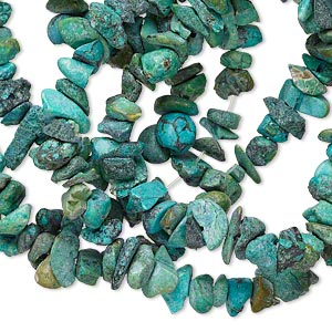 bead, turquoise (dyed / waxed), blue, medium chip, mohs hardness 5 to 6. sold per 33-inch strand.
