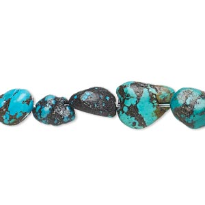 bead, turquoise (dyed / waxed), mini to medium nugget, mohs hardness 5 to 6. sold per 15-inch strand.