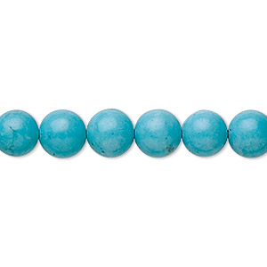 bead, turquoise (imitation), 8mm round. sold per 16-inch strand.