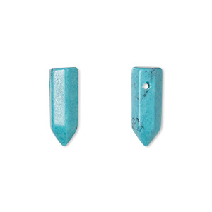 bead, turquoise (imitation), blue, 17x6mm hand-cut point. sold per pkg of 2.