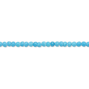 bead, turquoise (imitation), blue, 2-3mm round. sold per 15-inch strand.
