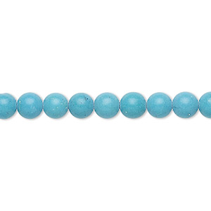 bead, turquoise (imitation), blue, 5-6mm round. sold per 15-inch strand.