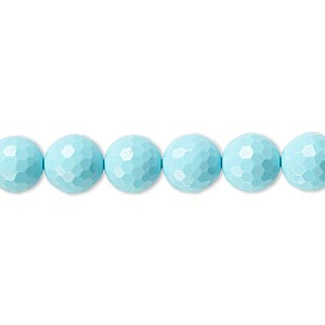 bead, turquoise (imitation), blue, 8mm faceted round. sold per 8-inch strand, approximately 25 beads.
