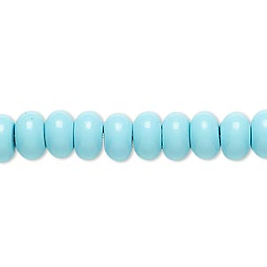 bead, turquoise (imitation), blue, 8x5mm rondelle. sold per 8-inch strand, approximately 40 beads.