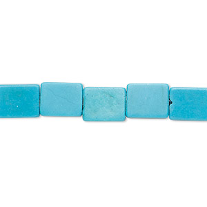 bead, turquoise (imitation), blue, 9x7mm-10x8mm flat rectangle. sold per 15-inch strand.