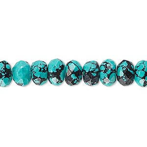 bead, turquoise (imitation), blue and black, 8x5mm faceted rondelle. sold per 8-inch strand, approximately 40 beads.