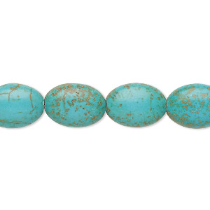 bead, turquoise (imitation), blue-green, 13x10mm-14x10mm puffed oval. sold per 15-inch strand.