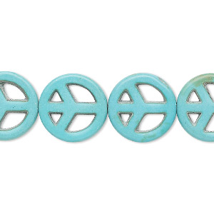 bead, turquoise (imitation), blue-green, 15mm peace sign. sold per 15-inch strand.