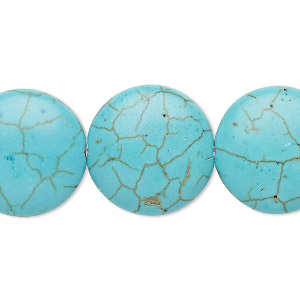 bead, turquoise (imitation), blue-green, 20mm puffed flat round. sold per 15-inch strand.