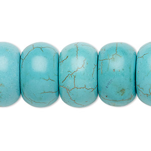 bead, turquoise (imitation), blue-green, 20x12mm rondelle. sold per 8-inch strand.