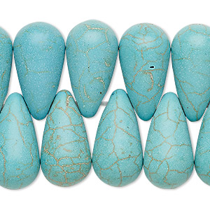 bead, turquoise (imitation), blue-green, 22x12mm top-drilled teardrop. sold per 8-inch strand.