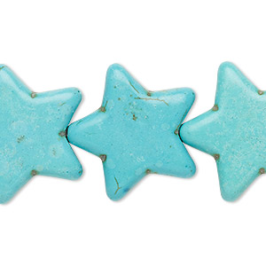bead, turquoise (imitation), blue-green, 24x22mm-25x23mm flat star. sold per 15-inch strand.