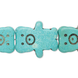 bead, turquoise (imitation), blue-green, 26x22mm-26x23mm carved flat bear. sold per 15-inch strand.