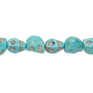 bead, turquoise (imitation), blue-green, 9x7mm-10x8mm skull. sold per 15-inch strand.