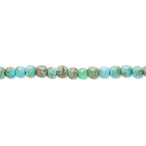 bead, turquoise (imitation), blue-green and green-brown, 3-4mm round. sold per 15-inch strand.