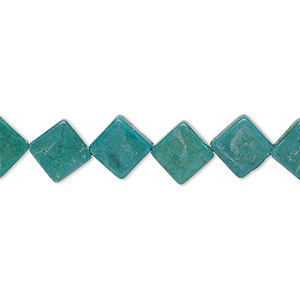 bead, turquoise (imitation), dark green, 10x10mm-11x10mm flat diamond. sold per 15-inch strand.