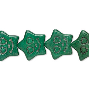 bead, turquoise (imitation), dark green, 17x16mm carved flat star. sold per 15-inch strand.