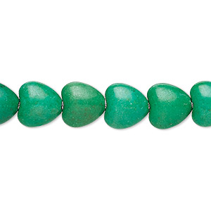bead, turquoise (imitation), kelly green, 10x10mm puffed heart. sold per 15-inch strand.
