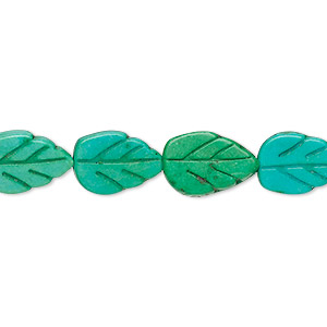 bead, turquoise (imitation), kelly green and apple green, 14x9mm carved flat leaf. sold per 16-inch strand.