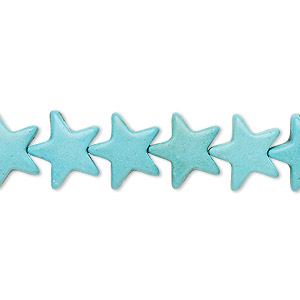 bead, turquoise (imitation), light blue, 12x11mm-12x12mm flat star. sold per 15-inch strand.