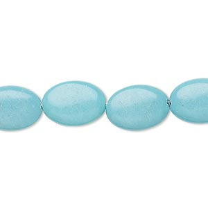 bead, turquoise (imitation), light blue, 14x10mm puffed oval. sold per 15-inch strand.