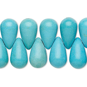 bead, turquoise (imitation), light blue, 17x10mm top-drilled teardrop. sold per 8-inch strand.