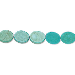 bead, turquoise (imitation), light teal green, 10x8mm flat oval. sold per 15-inch strand.