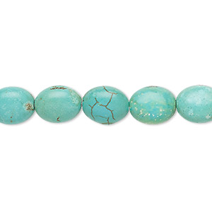 bead, turquoise (imitation), light teal green, 10x9mm-11x9mm puffed oval. sold per 15-inch strand.