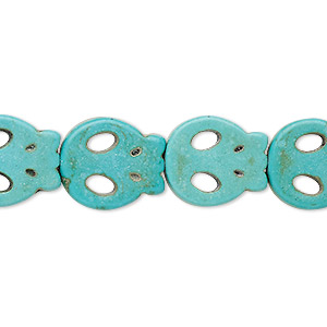bead, turquoise (imitation), light teal green, 15x13mm-15x14mm flat skull. sold per 15-inch strand.