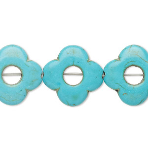 bead, turquoise (imitation), teal, 20x19mm-20x20mm flower with 6mm circle cutout. sold per 15-inch strand.